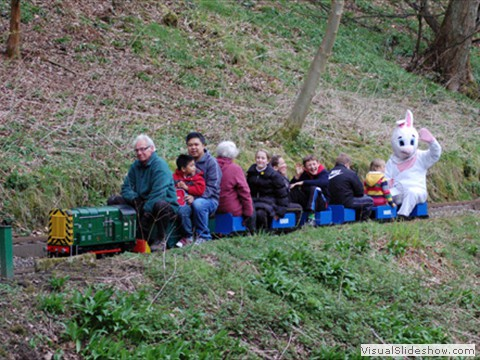 A Easter bunny on the railway
